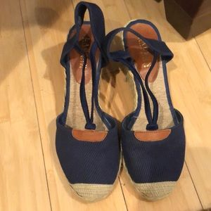 Ralph Lauren Cala espadrille wedges navy canvas 9